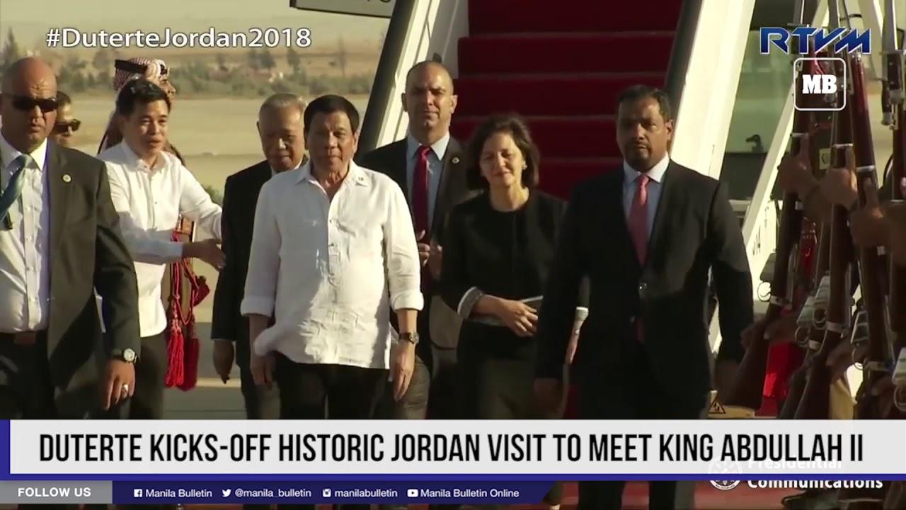 Duterte kicks off historic Jordan visit to meet King Abdullah II