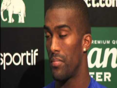 New signing Sylvain Distin signs in at Everton