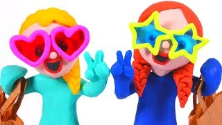 FROZEN ELSA & ANNA FASHION GLASSES ❤ Spiderman, Hulk & Frozen Elsa Play Doh Cartoons For Kids