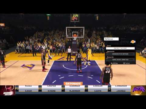 NBA 2k15 Lakers vs Heat Kobe 43 point game Part 1