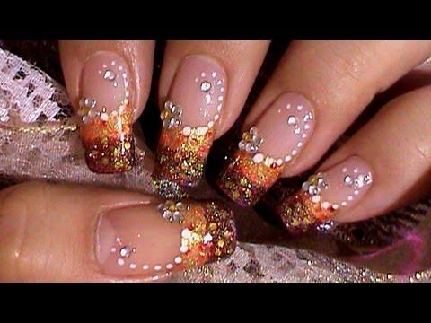 gold amp red nail art design tutorial w rhinestone flower