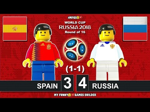 Spain vs Russia 3-4 (1-1) World Cup 2018 Round of 16 (01/07/2018) All Goals Highlights Lego Football
