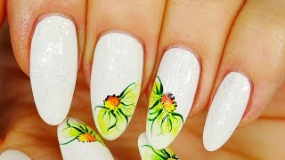 Nail Art. White Design !!! Green Flowers !
