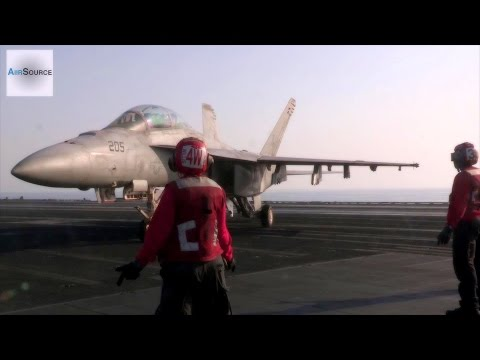 US Military Launches Air Strikes Against ISIL: Aircraft Carrier Flight Ops
