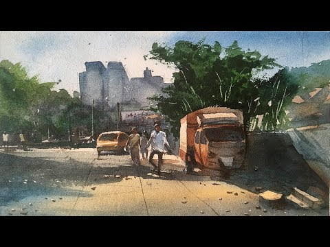 Watercolor Painting Landscape Step by Step.