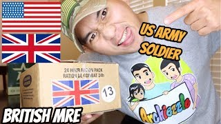 US ARMY SOLDIER Testing British Military MRE (24Hr Combat Food Ration) Military Food