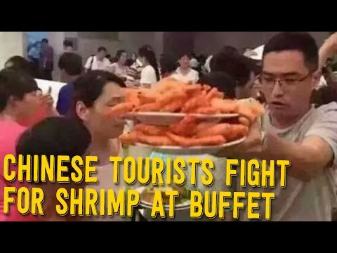 Chinese Tourists Fight Over JUMBO SHRIMP at All You Can Eat Buffet