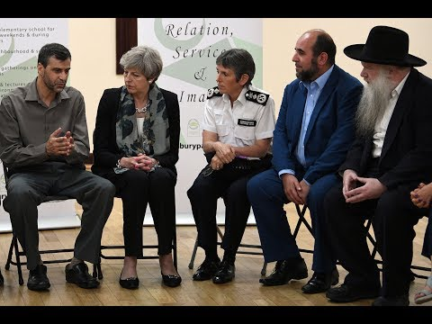 Theresa May arrives at mosque near where terror attack took place