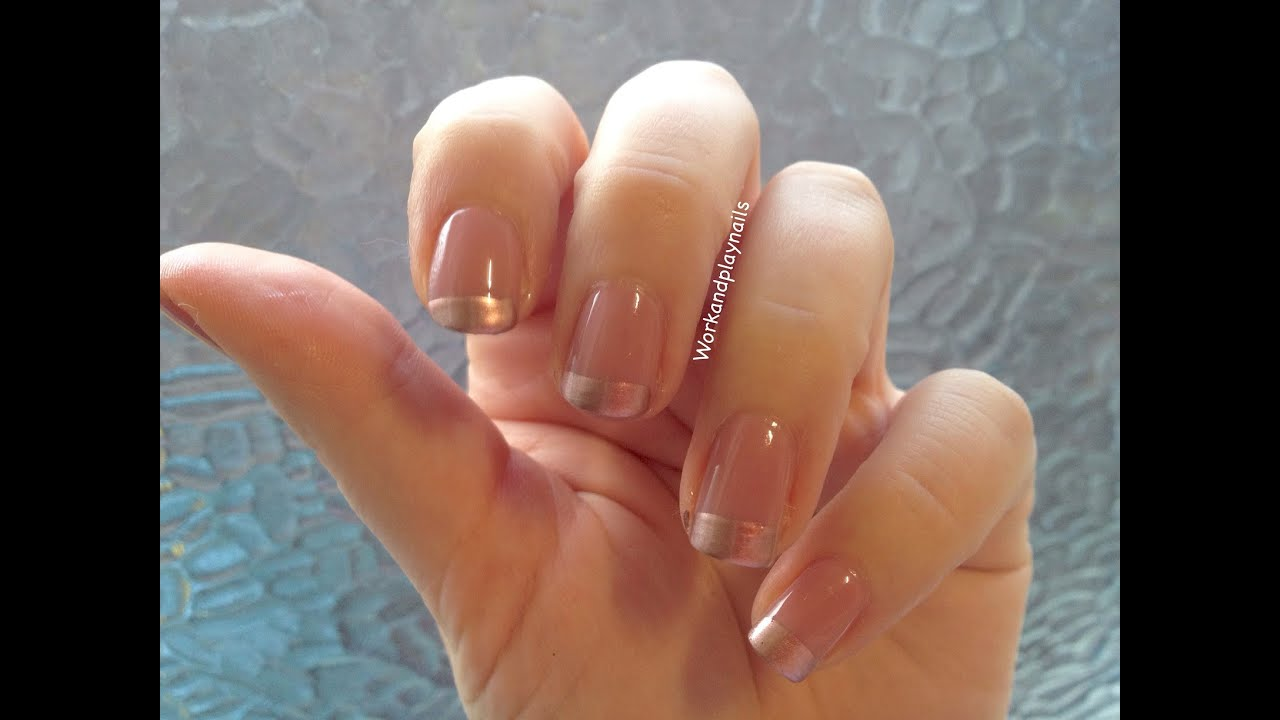 French Tip Nails With Roses Essie Gold French Tip Nail
