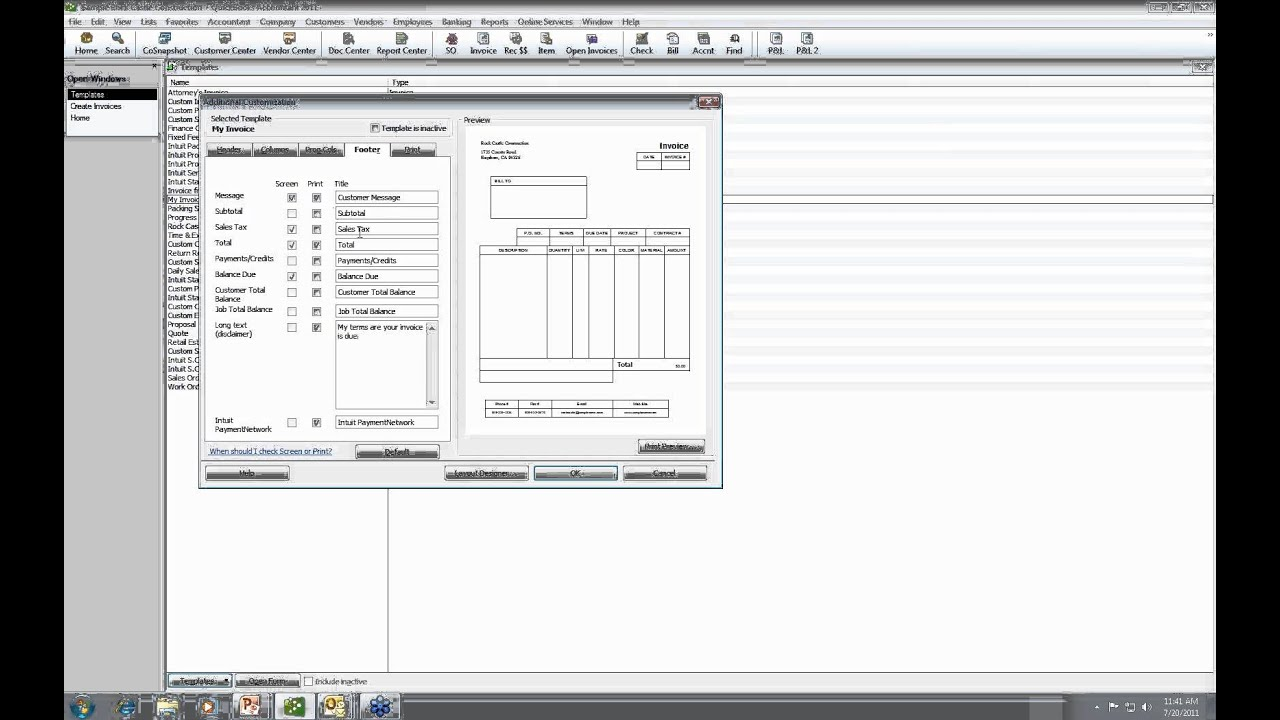 quickbooks tutorial - creating custom form templates