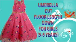 Umbrella frock cutting and stitching for 5-6 year old girl