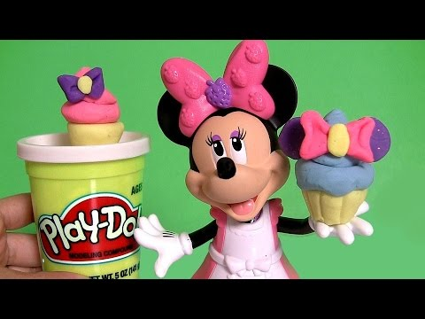 Play Doh Minnie Mouse Cupcake Bow-Tique with Princess Anna ♥ Elsa Disney Frozen El Reino del Hielo