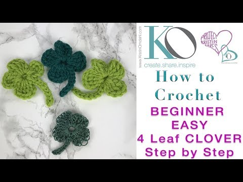 How to LEFT HAND Crochet Lucky 4 Leaf Clover Easy Step by Step for Beginners 2018