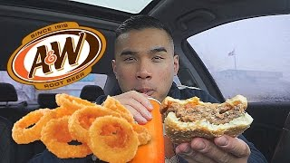 A&W Burger & Onion Rings Review | MUKBANG | QT
