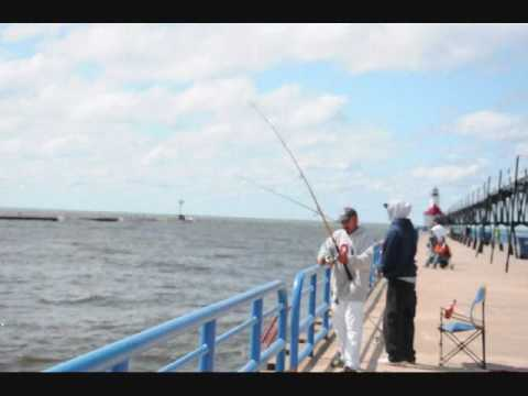 Fishing in the Channel at St Joseph, Michigan on Wave Day