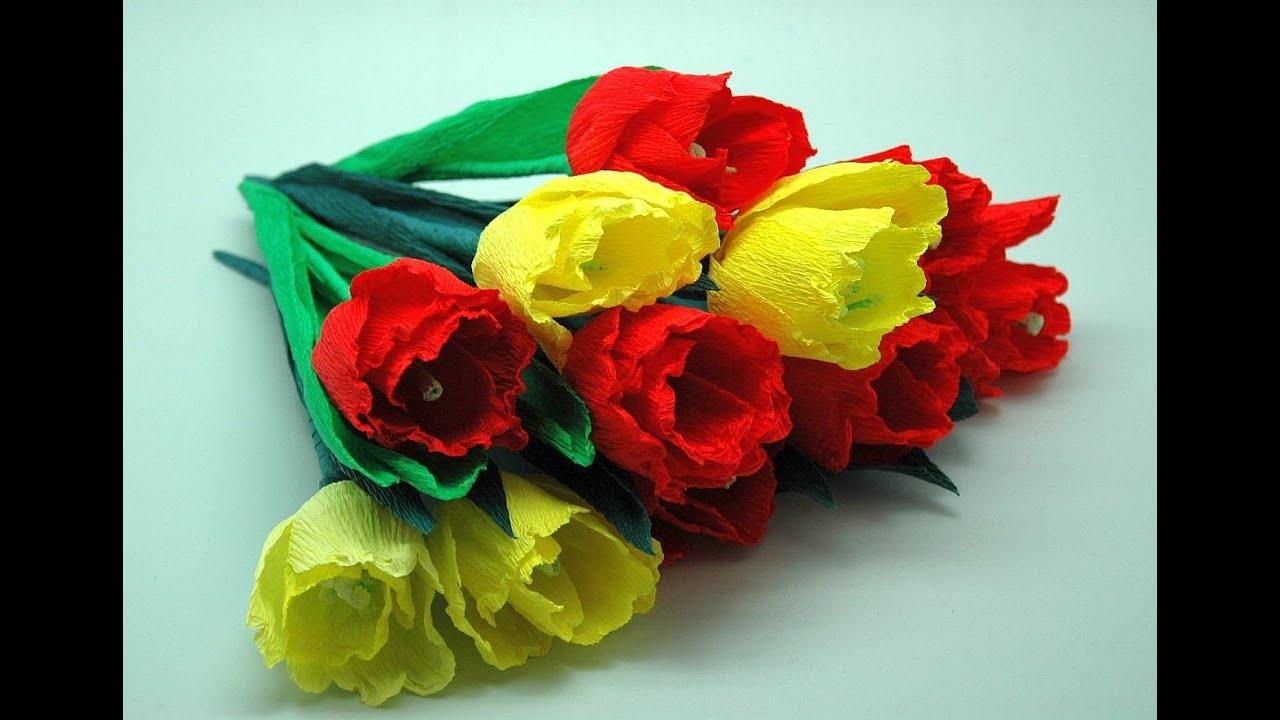 Kwiaty z bibuły - tulipany. Crepe paper flowers-Tulips DIY - YouTube
