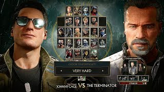 Mortal Kombat 11 Terminator T-800 Gameplay Vs Johnny Cage Very Hard Difficulty MK11