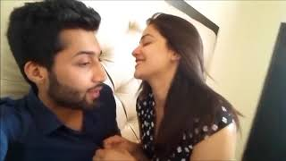 Pakistani girl enjoying with boy friend romantic mood in bed room