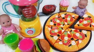 Baby doll and Velcro Cutting Fruit Ice Cream Pizza kitchen cooking toys refrigerator play - 토이몽