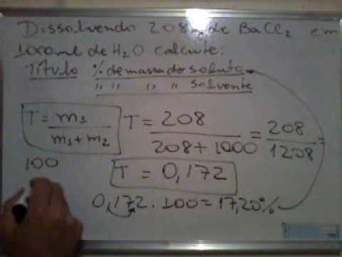 Como Calcular Título, Porcentagem de Massa do Soluto e do Solvente