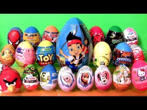 24 Surprise Eggs Kinder Frozen Disney Princess Anna Elsa Playdoh PeppaPig AngryBirds Giant Jake Cars