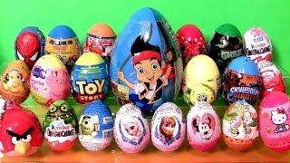 Giant Surprise Kinder egg Play-Doh Flintstones FROZEN Disney Peppa AngryBirds Giant Jake Funtoys