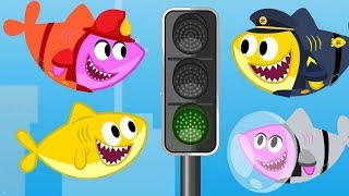 Fireman Shark Fixing Traffic Light. Baby Shark Cartoon & Songs for Kids