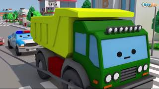 The Police Car & Racing Car Race - Service Vehicles Cartoons for children 3D - Cars & Trucks Stories