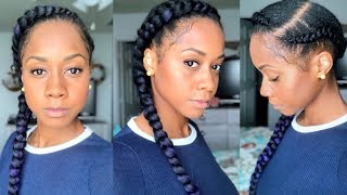 """Cornrow """"Feed In"""" Braid Protective Style on Black Hair + Leg Workout"""