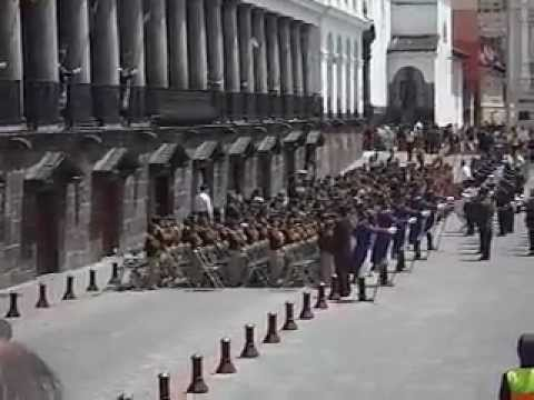 Changing of the Guard in Old Town Quito, Ecuador