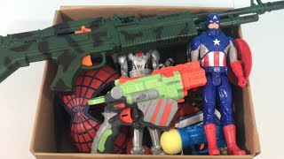 Box Full of Toys Toy Guns for Kids Super Heroes Toy Cars