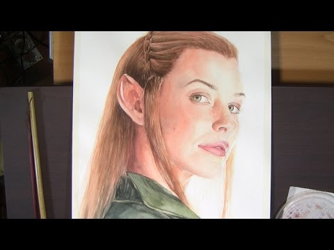 Watercolor portrait - Tauriel - Evangeline Lilly