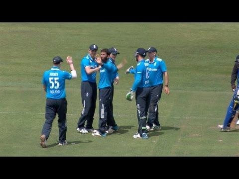 Moeen Ali third wicket - Thilina Kandamby caught by Eoin Morgan - England v Sri Lanka A