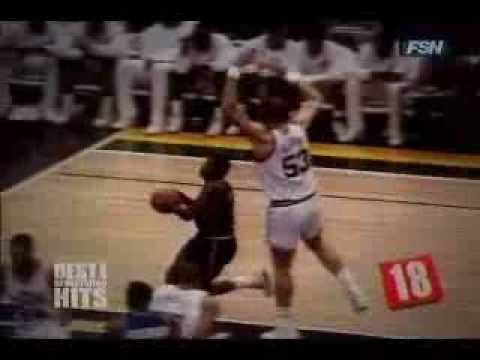 Karl Malone elbows Isiah Thomas - ( 40 stitch lesson )