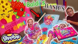 Baldi's Basics in Real Life Slumber Party! Shopkins Lil Secrets Toy Scavenger Hunt!!