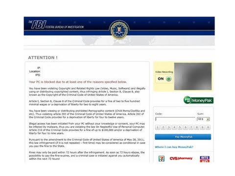 Remove Fbi Ransom - Fbi Moneypak Virus By Britec video