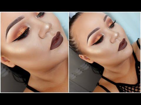Orange Copper Glitter Eyes & Matte Brown Lip   Full Face Makeup Tutorial   Makeupwithjah