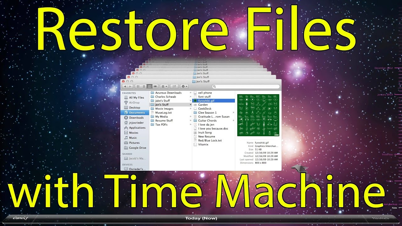 restoring with time machine
