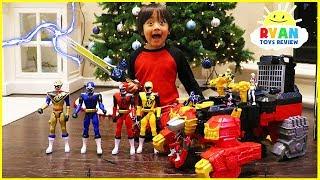 Ryan unlocks the Biggest Power Rangers Ninja Steel Surprise Toys Ever!!!