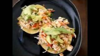 TOSTADAS DE CAMARON Y JAIBA.(shrimp and crab salad)