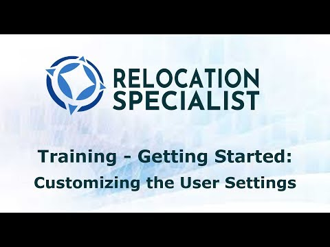 Training Videos - Customizing User Settings