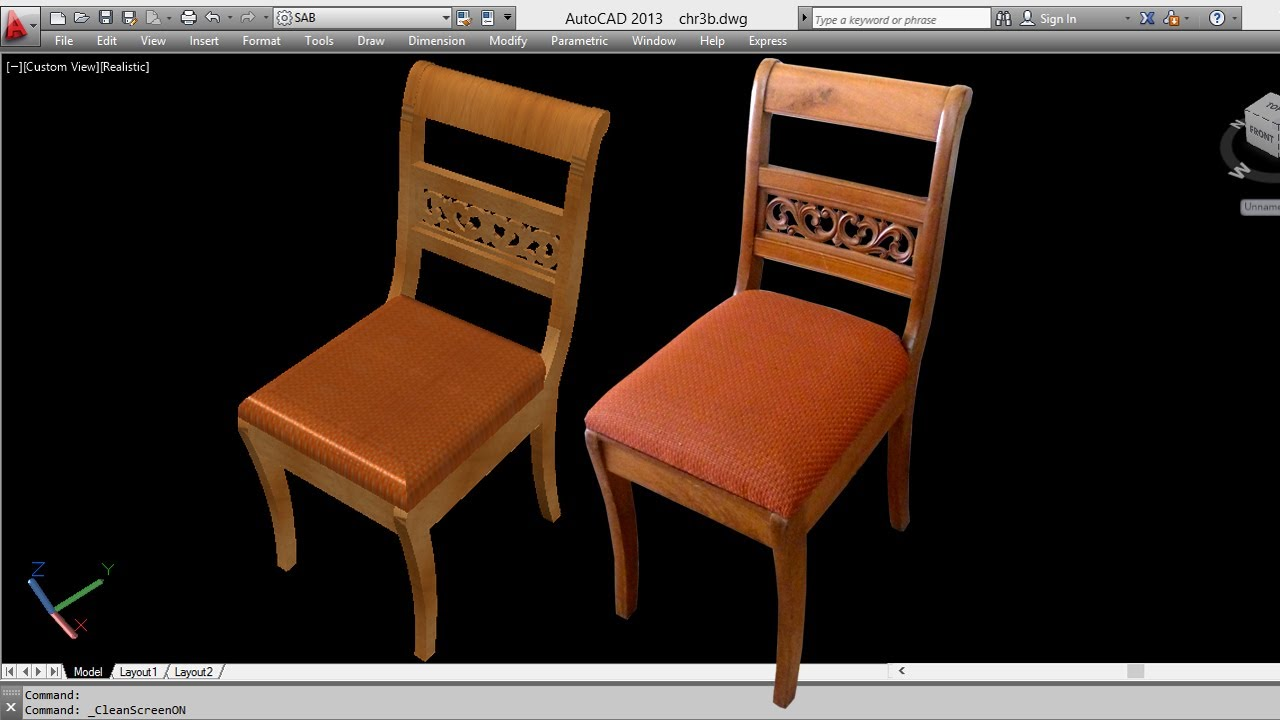 Autocad 3d chair 3d chair youtube for Furniture drawing software