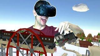 TRAIN CRASHES, DERAILMENTS, AND STUNTS IN VR! Epic Toy Train Builder - TrainerVR HTC VIVE Gameplay