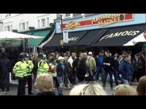 A walk round the famous Portobello Market in Notting Hill, London UK (HD)