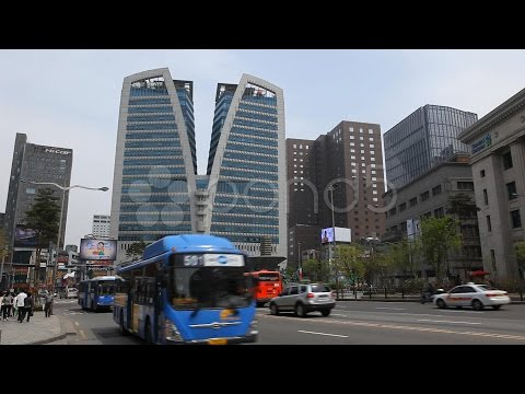 Seoul City Center, Central Area Road, Skyscrapers, Asia Shopping, South Korea. Stock Footage