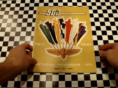 1961 Indy500 Program AJ Foyt Bowes Offy Starting LineUp Video