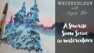 Paint a Sunrise Snow Scene in Watercolour