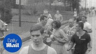 1967: Kathrine Switzer's first time running the Boston Marathon - Daily Mail