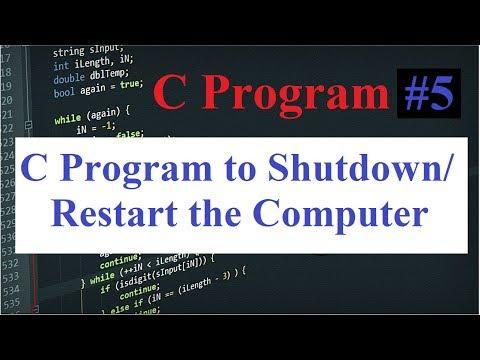 C Program #5: Shutdown and Restart Computer using C Program