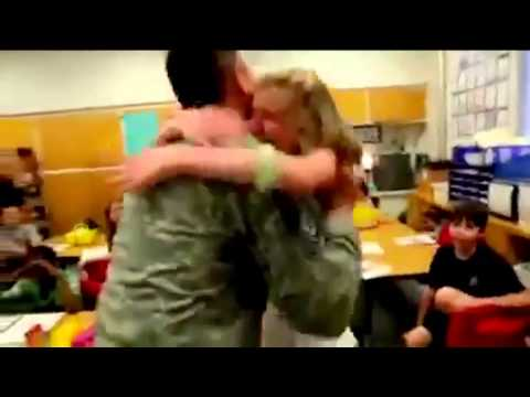 Members of the military return home to reunite with their families...